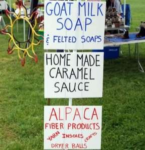 Blackberry Ridge goat milk soaps, caramel sauce & Alpaca fiber products