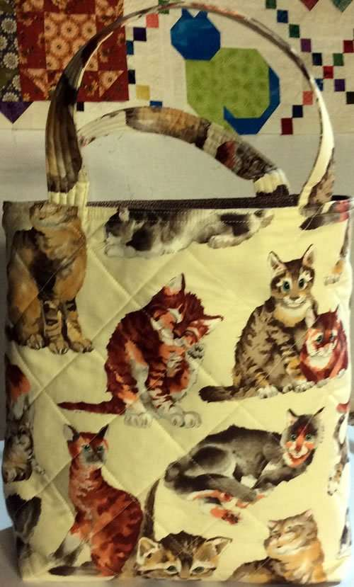 Woodhenge Quilts - Sally Cabell - Kittens quilted shopping bag with two pockets - Craftsbury, VT