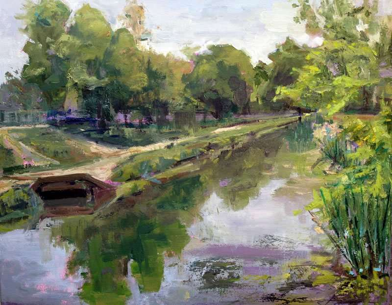 Julie Empson - bridge over stream - Plein Air Paint the Common artist - Craftsbury Farmers Market