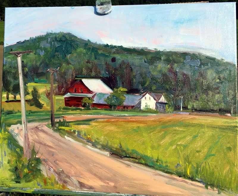 Julie Empson - farm scene - Plein Air Paint the Common artist - Craftsbury Farmers Market