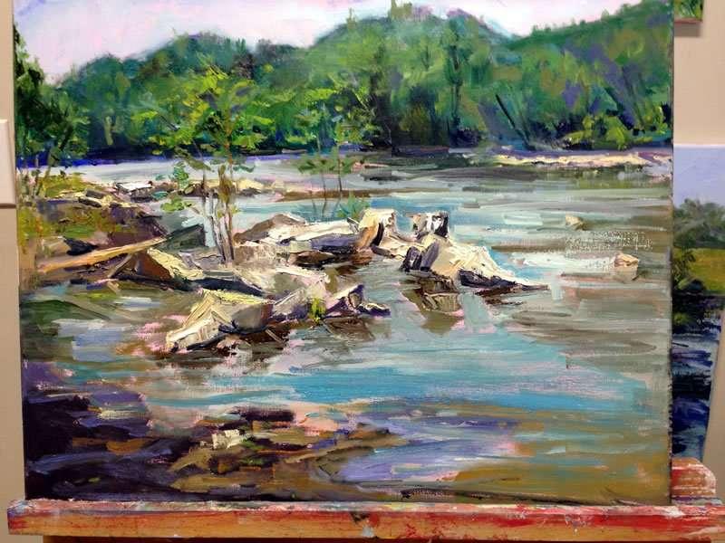 Julie Empson - flowing stream - Plein Air Paint the Common artist - Craftsbury Farmers Market