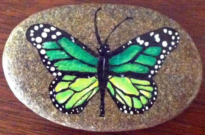 Lynn Grady - Stowe, VT artist of hand-painted river rock - butterfly